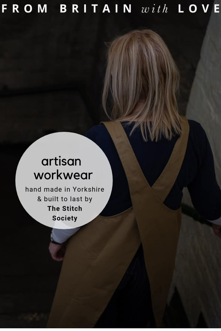 love these ethically made craft artisan aprons and workwear sustainably made in Yorkshire by The Stitch Society from long-lasting fabrics that are so durable each comes with a ten year guarantee! Click through to get all the info you need and to see the full collection of cross back pinafore, demi aprons and crafters aprons. #workwear #crossback #aprons #handmade #madeinyorkshire #ethical #sustainable #crafters #frombritainwithlove