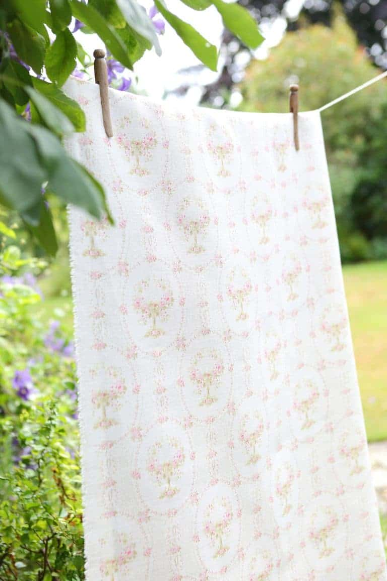 love this pretty pale pink and white linen faded floral fabric by Olive + Daisy. Click through for more faded floral fabric ideas you'll love