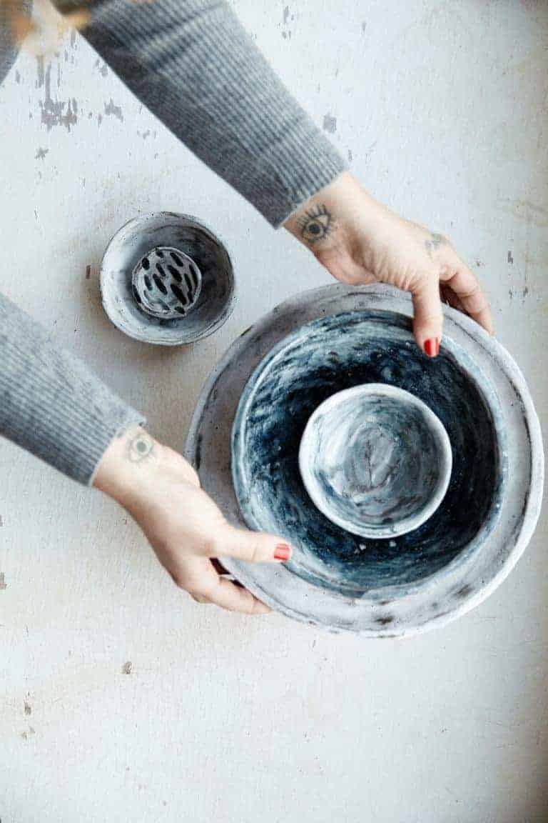 love these hand thrown blue and grey ceramic pottery bowls vessels and plates by Kana Ceramics. Click through for more beautiful finds by Emily Mathieson, travel writer with The Guardian, Conde Nast Traveller and founder of beautiful online store Aerende