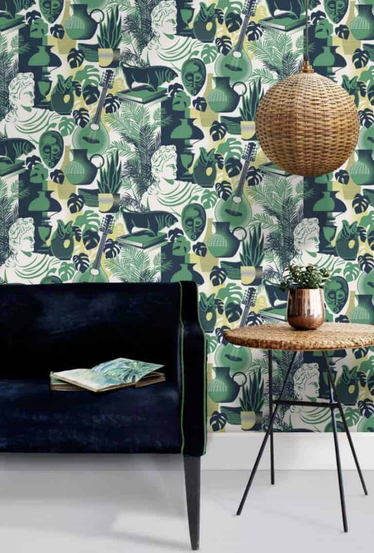 mini moderns art room wallpaper in dark emerald green