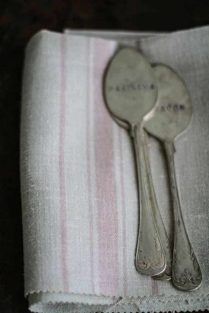 love this faded pale rose pink and natural linen stripe fabric by Peony & Sage. Click through for more details and to discover more beautiful faded floral linens you'll love