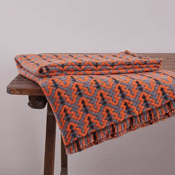 sally weatherall orange and grey pylon throw blanket