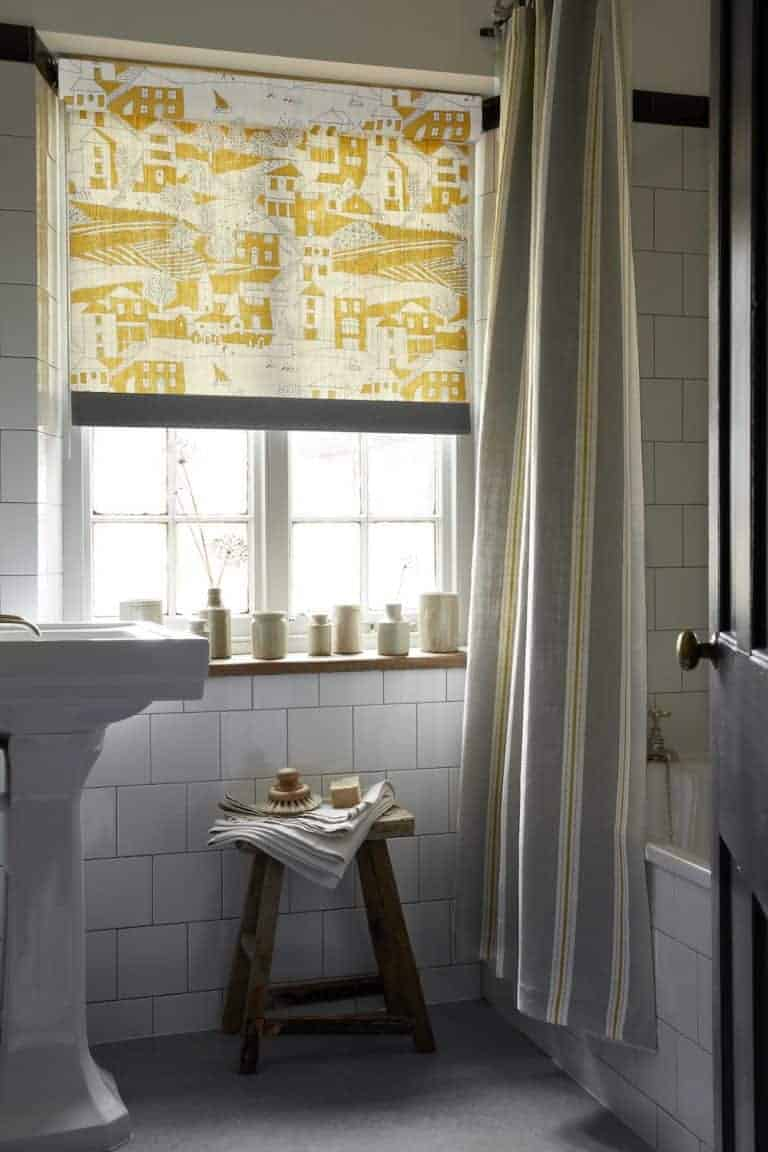 Love this saffron yellow By the Sea seaside print blind by Vanessa Arbuthnott. Click through to discover the rest of Vanessa's beautiful new Artists Collection of organic linen fabrics