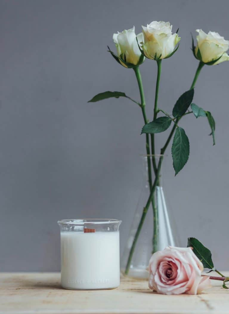 Essence and Alchemy roses beaker candle
