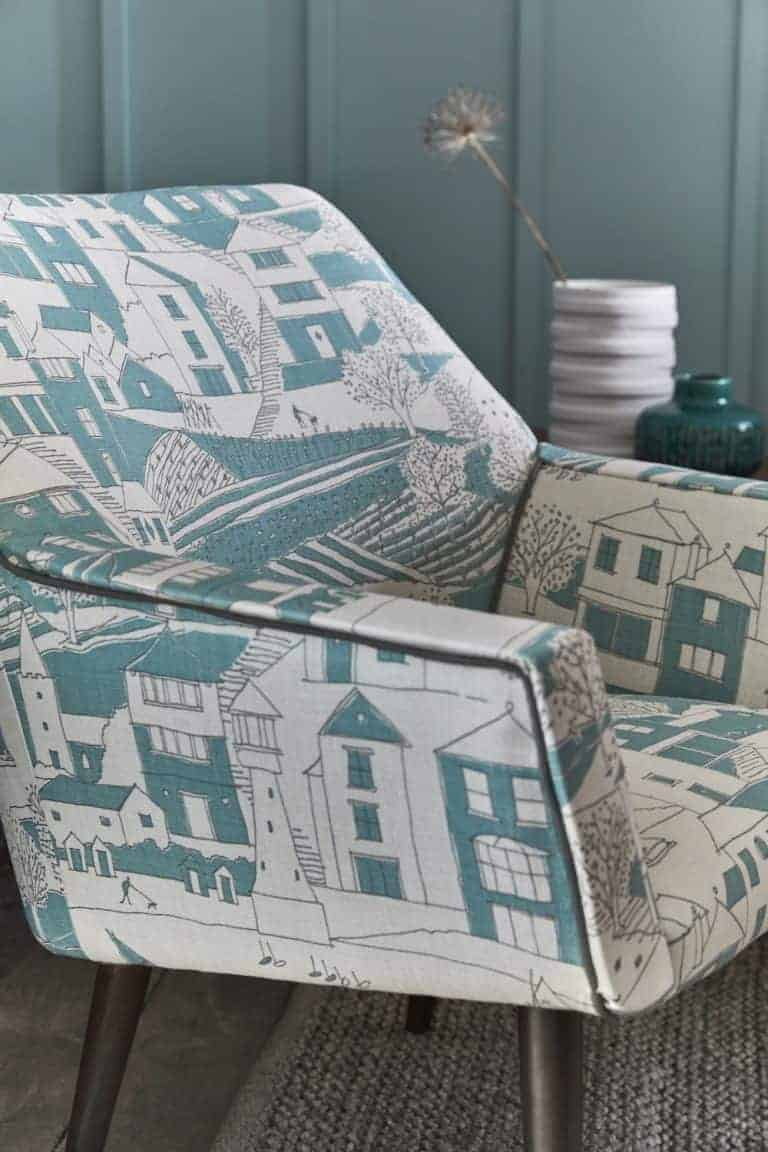 love this vanessa arbuthnott By the Sea fabric. Used here to upholster a simple chair to create a contemporary rustic seaside look. Click through to see the rest of the beautiful new Artists Collection of fabric designs from Vanessa