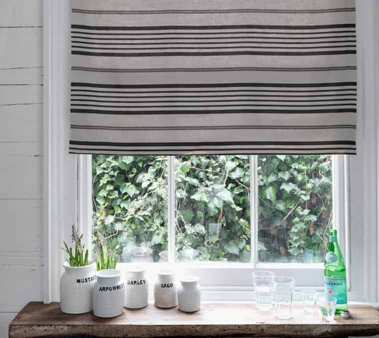 love this grey stripe linen kitchen blind