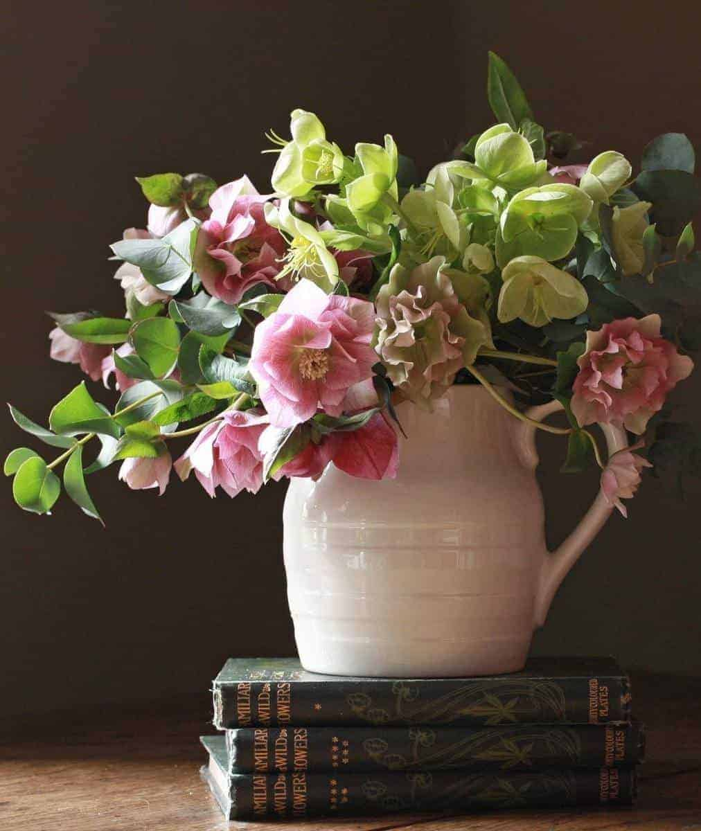 love these blush pink and lime green hellebores in a white creamware jug. by The Real Flower company - scented paperwhite narcissi, yellow rununculus and daffodils with fresh spring green eucaluptus and aromatic fresh mint. Click through for more beautiful spring flower arrangement ideas you'll love