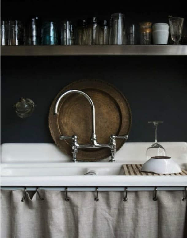 love this country kitchen with dark wall curtain below sink