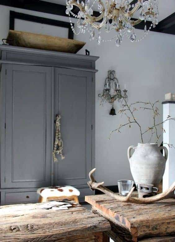 modern rustic kitchen grey cupboard