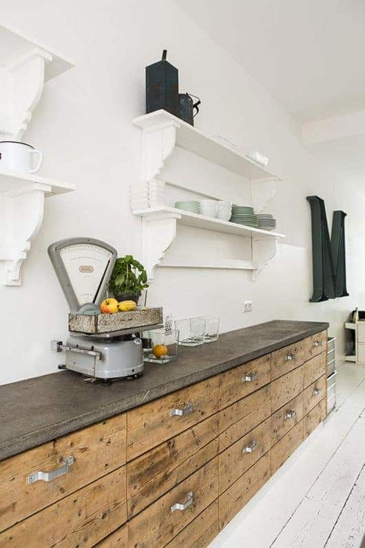 love this modern rustic kitchen with reclaimed wood cupboards and vintage shop scales