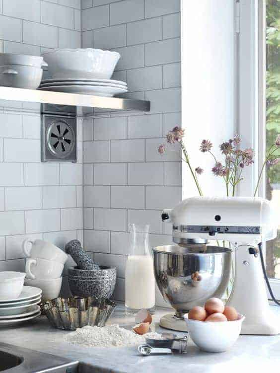 love this modern rustic kitchen with white metro tiles and white kitchenaid mixer