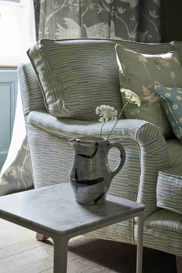 love this handprinted stripe linen in soft grey Pigeon by Vanessa Arbuthnott. Used here to upholster a simple country chair. Click through to discover the rest of Vanessa's beautiful new Artists Collection of organic linen fabrics