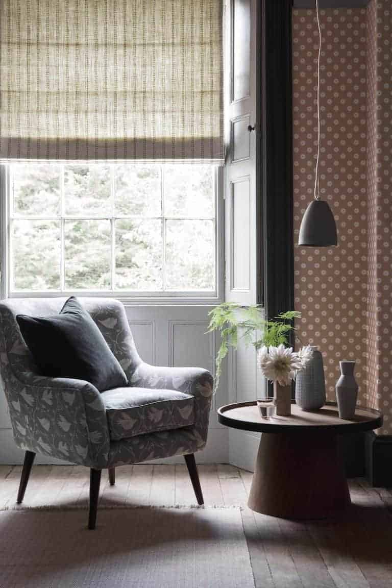 love this new Branching Out fabric design by Vanessa Arbuthnott used to upholster this chair to create a modern rustic country cottage look. Click through to discover the rest of Vanessa's beautiful new Artists Collection range of organic linen fabrics