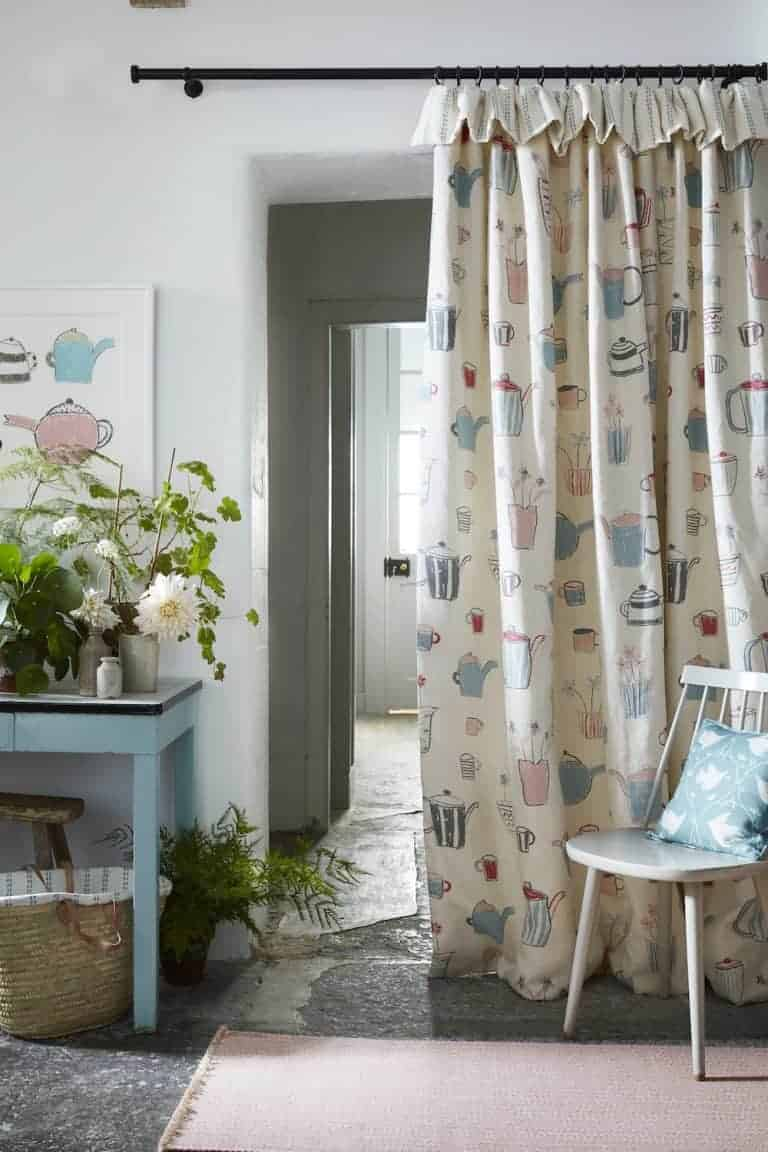 love these country cottage curtains in Teatime from the new Artists Collection by Vanessa Arbuthnott. Click through to see the rest of this beautiful new collection of organic linens