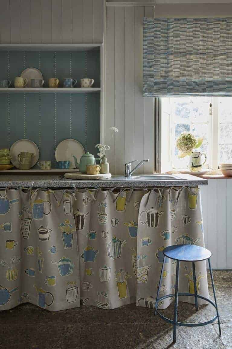 love these country cottage kitchen cupboard curtains in Teatime from the new Artists Collection by Vanessa Arbuthnott. Click through to see the rest of this beautiful new collection of organic linens