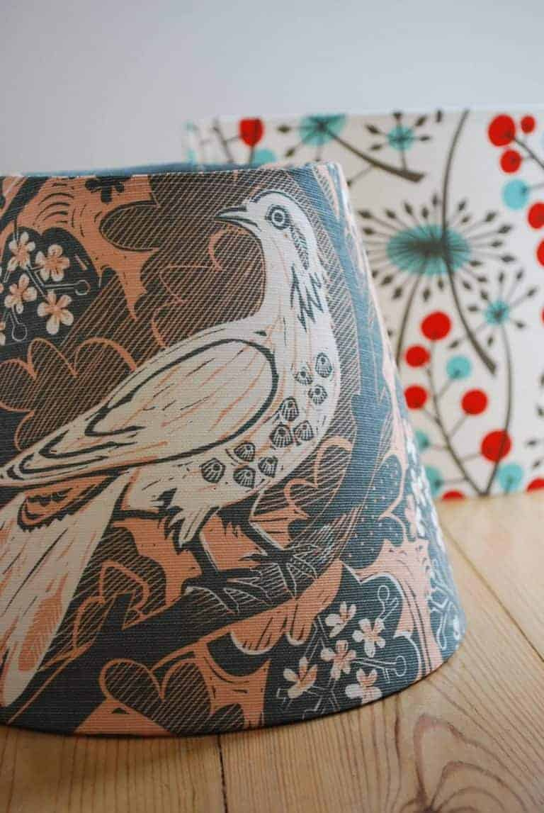 love this linen lampshade covered in Doveflight by Mark Hearld for St Jude's fabrics