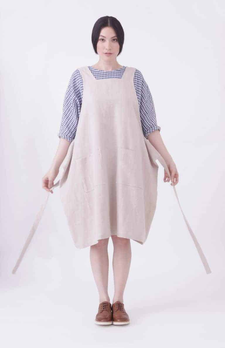 5038adfd75 Click through to find love this linen pinafore apron handmade in England  with dungaree back.