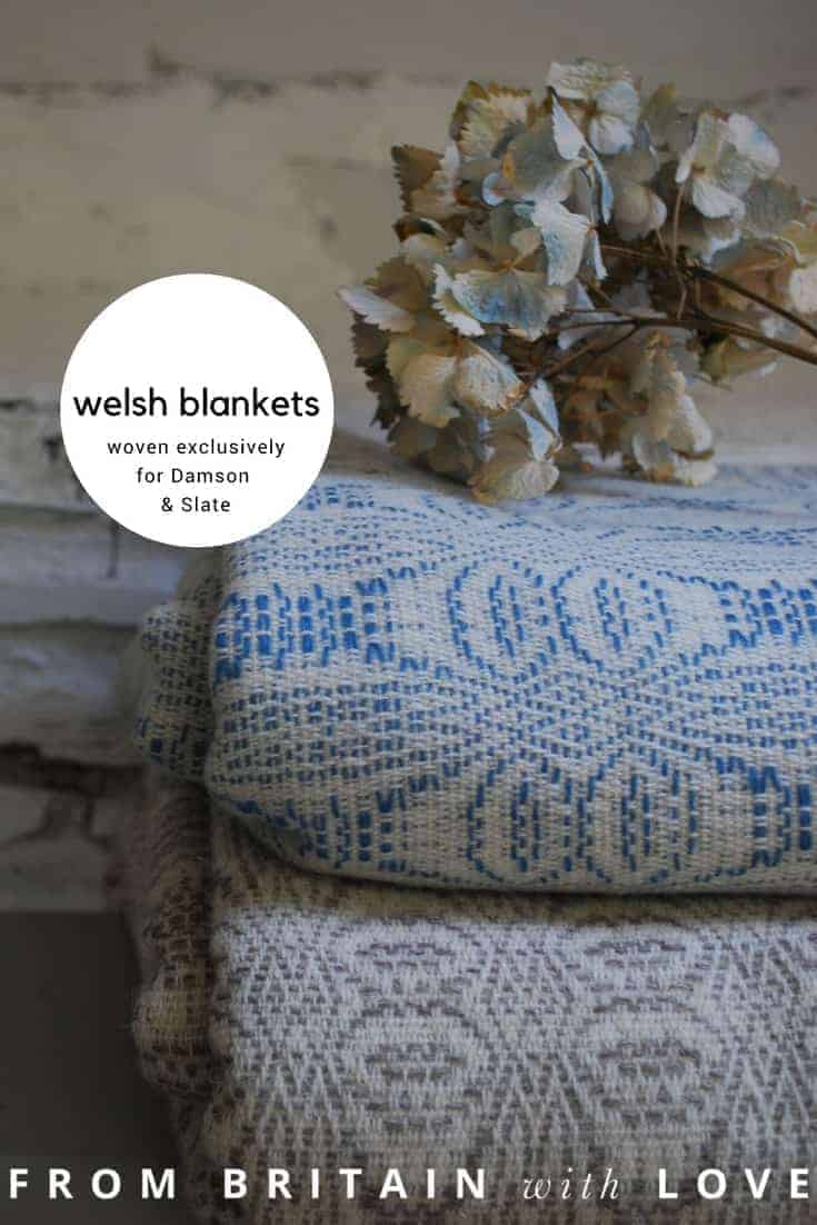 love these welsh blankets woven in Wales for Damson & Slate in blues, greys and heather purple shades. click through to discover more of this beautiful range of homeware made in wales that you'll love