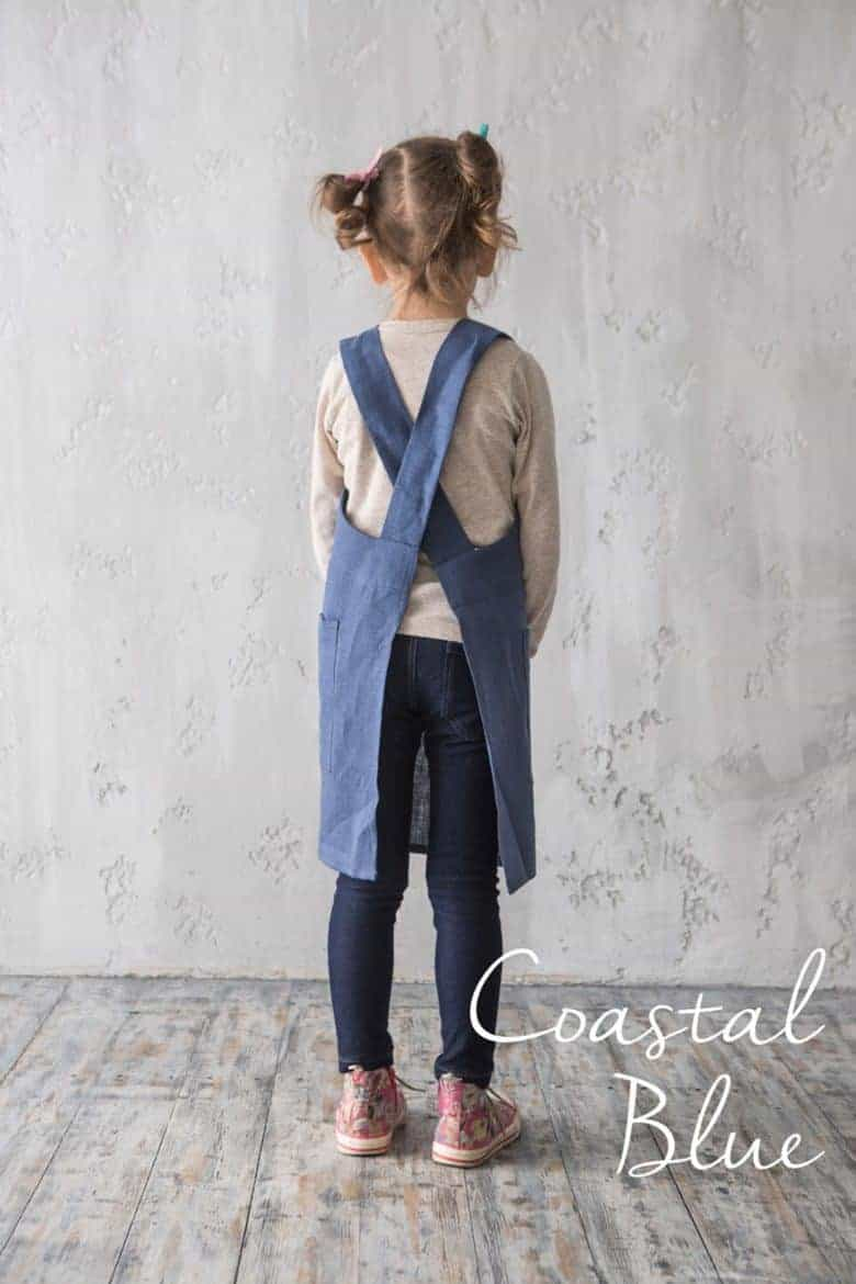handmade child's blue linen cross back pinafore japanese apron #artisan #apron #crossback #child #frombritainwithlove