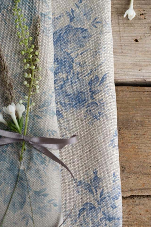 love this faded floral fabric - blue and soft grey linen by Olive + Daisy. Cick through for more faded florals you'll love
