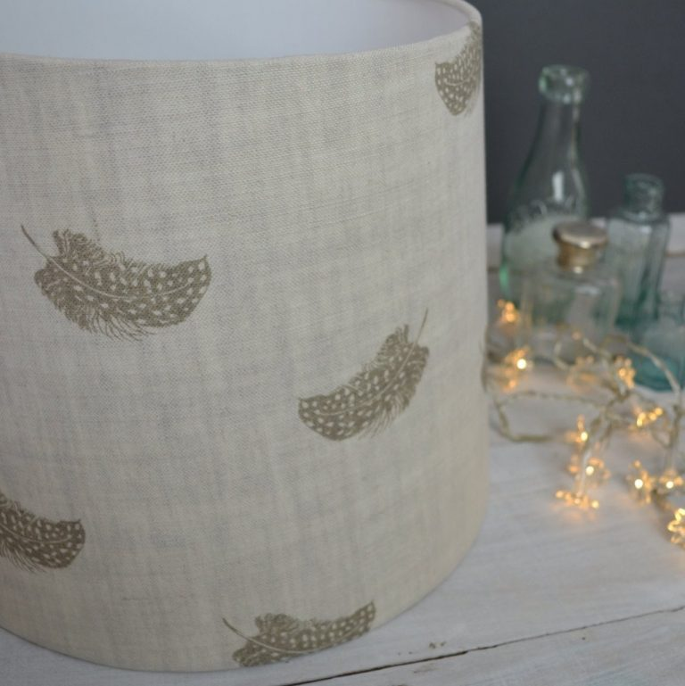 love this peony and sage Falling Feathers olive linen lampshade shadelined linen lampshade by peony and sage