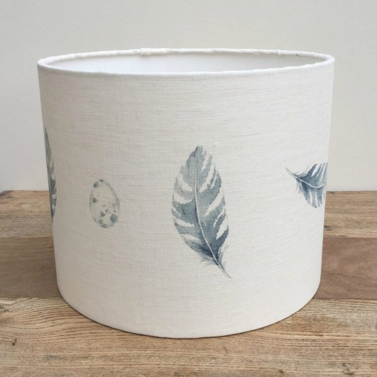 millie love this peony and sage Feather Egg Blue linen lampshade shadelined linen lampshade by peony and sage