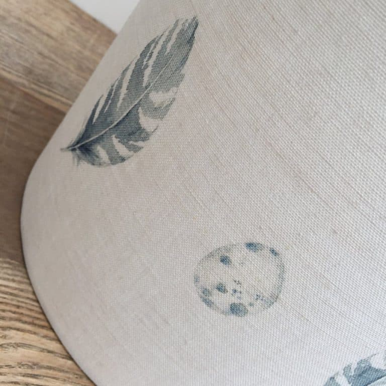 love this peony and sage Feather Egg Blue linen lampshade shadelined linen lampshade by peony and sage
