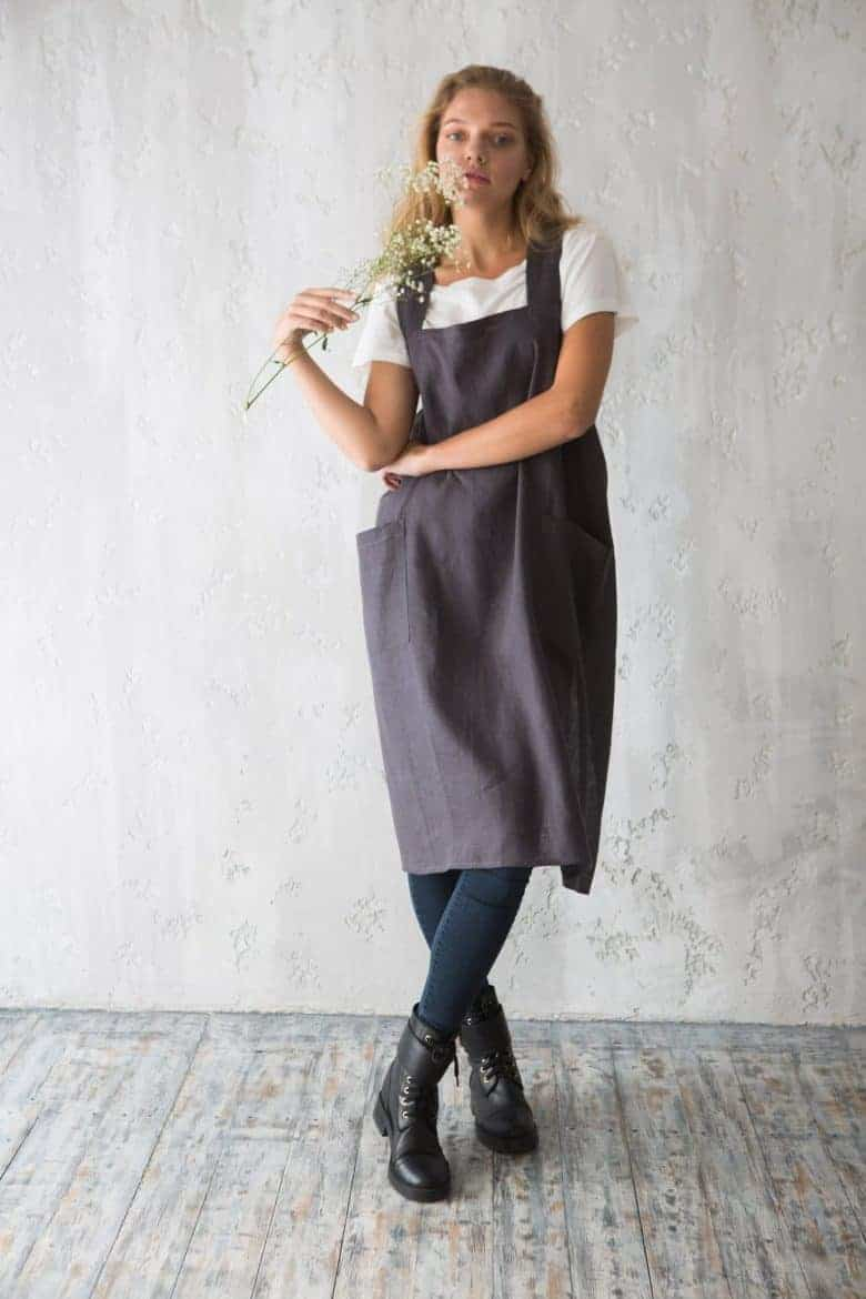 grey linen pinafore apron cross back #artisan #apron #crossback #frombritainwithlove #linen