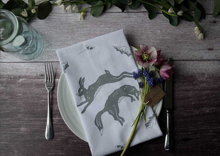 love these screen printed hare grey linen napkins made in England by Leaping Foxes. Click through to discover the whole beautiful collection