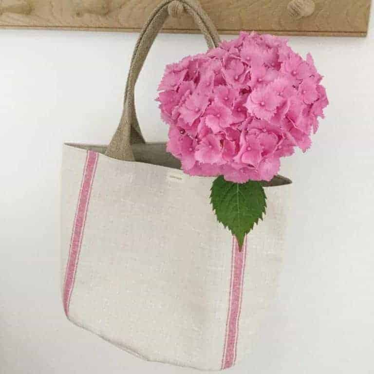 love this vintage linen stripe bag with leather handle by Olive + Daisy