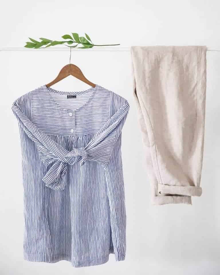 love this simple blue and white stripe cotton shirt made in England by Nadinoo. Click through to discover the whole beautifully simple collection