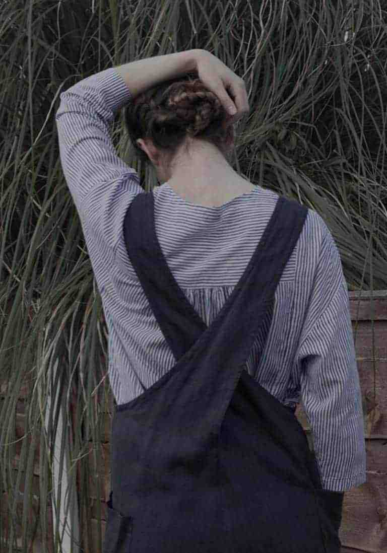 17b2ea3296 ... pinafore apron handmade in England with dungaree back. Click through to  find love this cross back navy linen apron by Nadinoo.