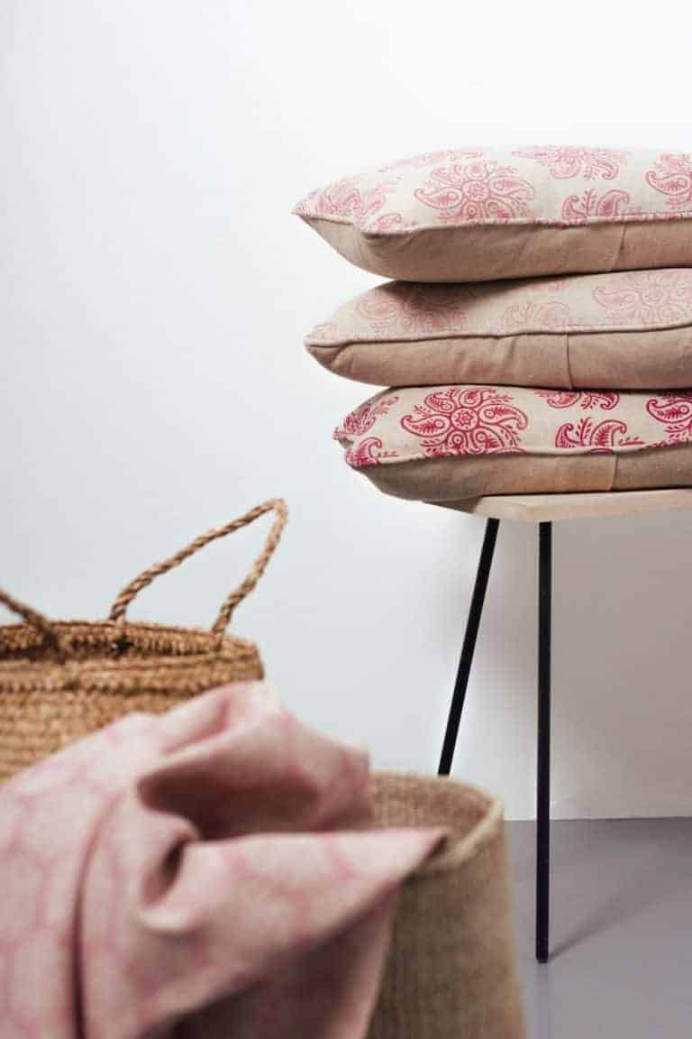 love this anoushka linen fabric in raspberry red and soft dusky pink linen by olive and daisy. Click through to discover more linen fabric designs you'll love