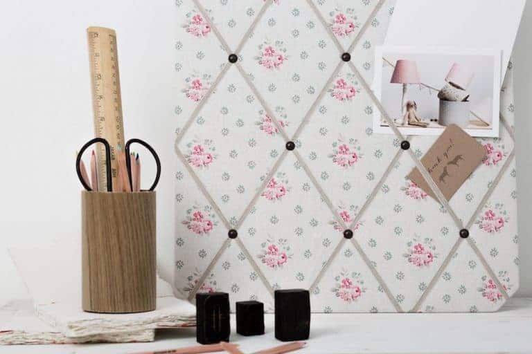 love this olive and daisy pink floral linen fabric pinboard with ribbons. click through for more beautiful fabric designs you'll love