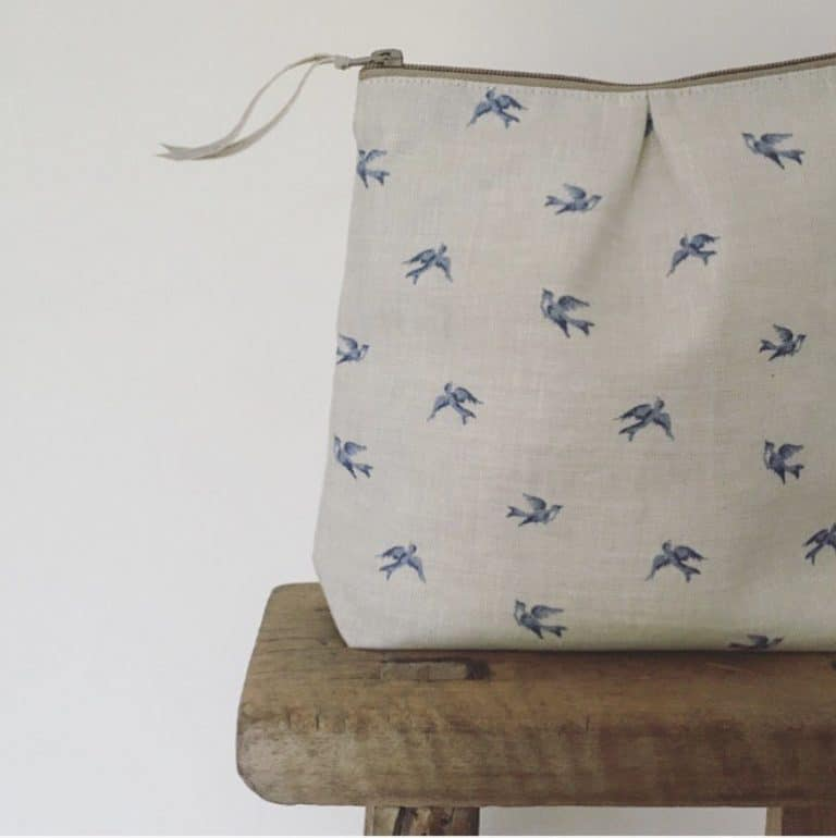 love this blue and soft grey skylark linen washbag by olive and daisy. Click through for more fabric designs you'll love