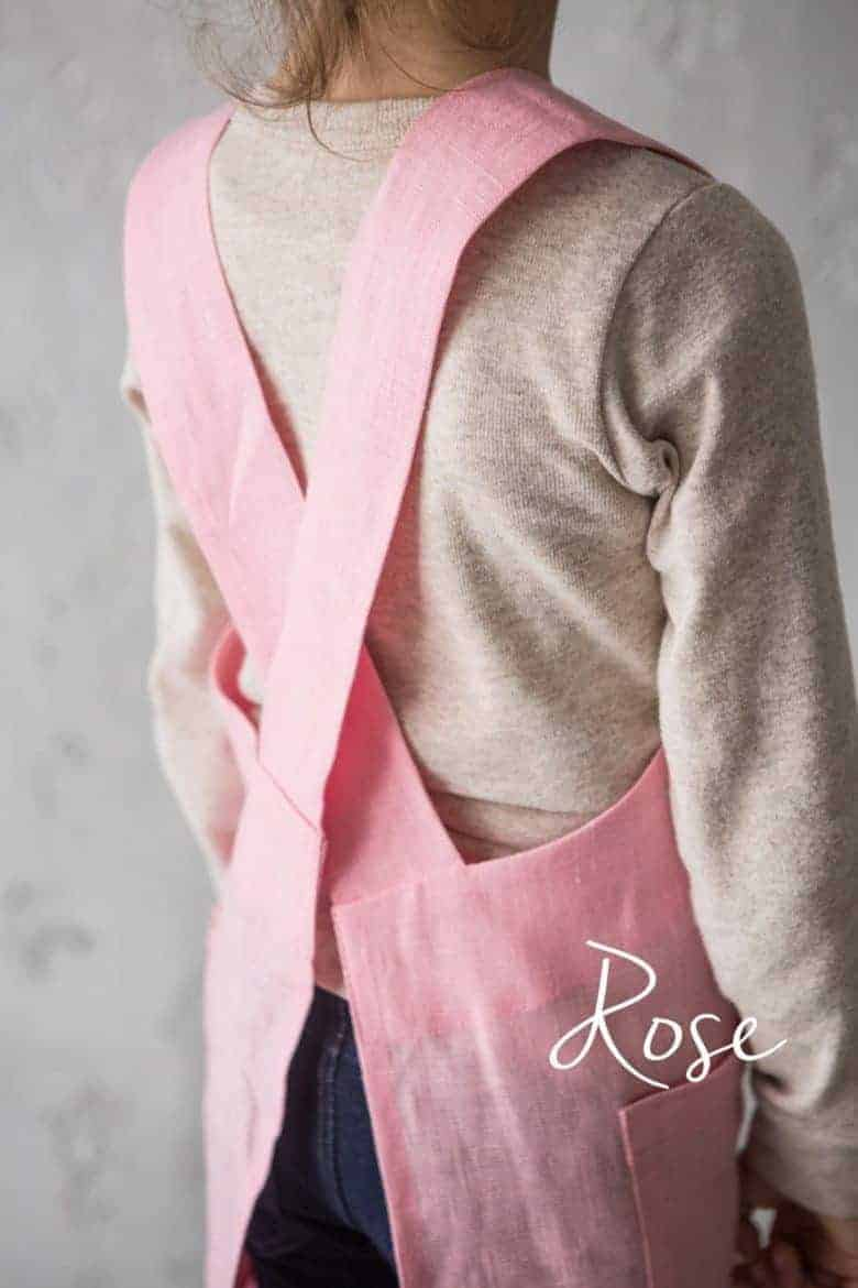 handmade pink linen cross back pinafore japanese apron #artisan #apron #crossback #pink #frombritainwithlove