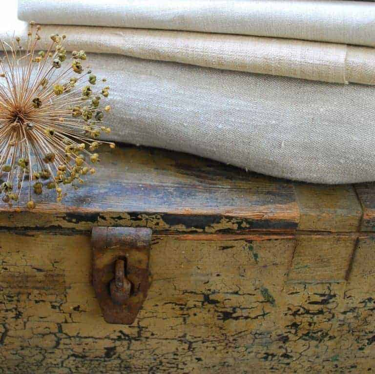 stack of natural linen fabric