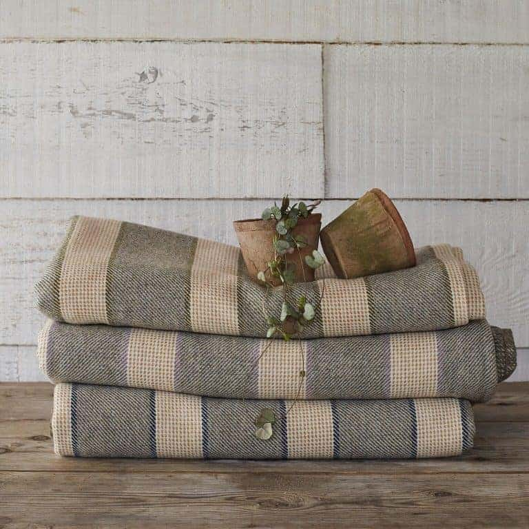 love this grey and cream stripe welsh blanket by damson and slate