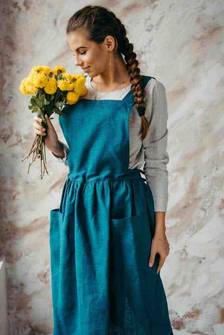 handmade teal linen cross back pinafore japanese apron #artisan #apron #crossback #teal #frombritainwithlove