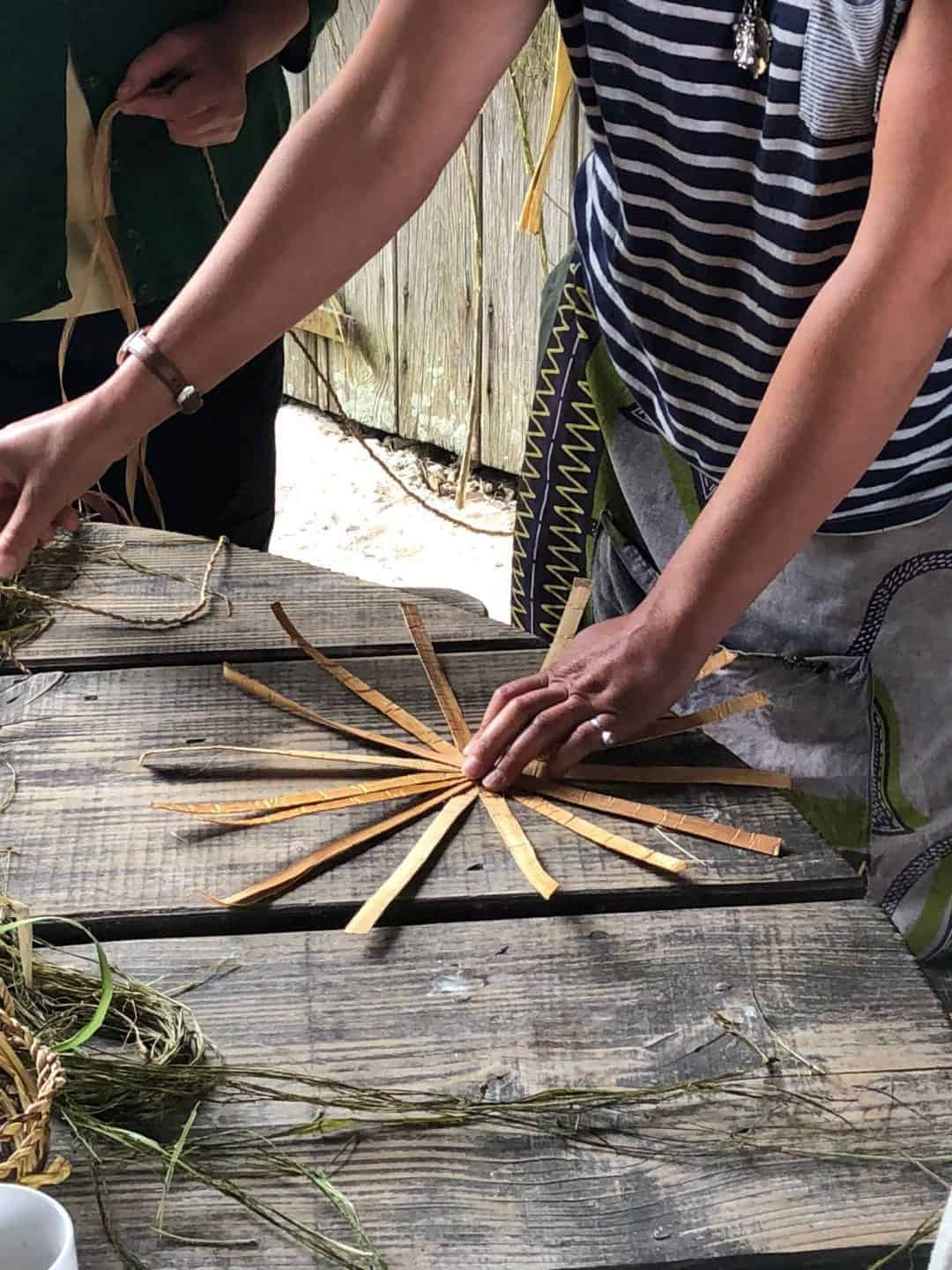 trill farm basket making workshop foraged chestnut bark. Click through to discover more creative workshops