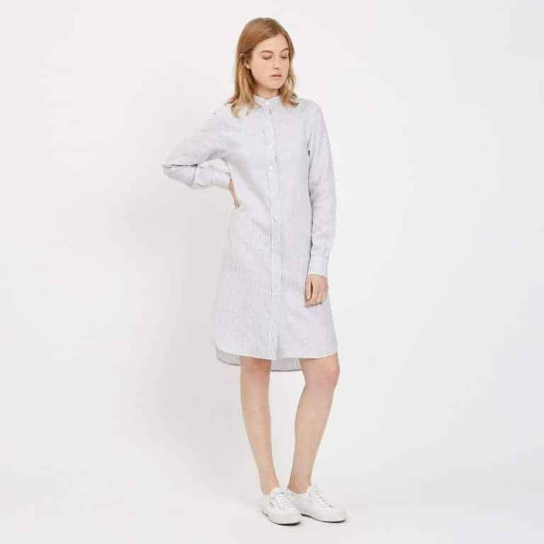 community clothing-Womens_Collarless_Linen_Shirt_Dress_1