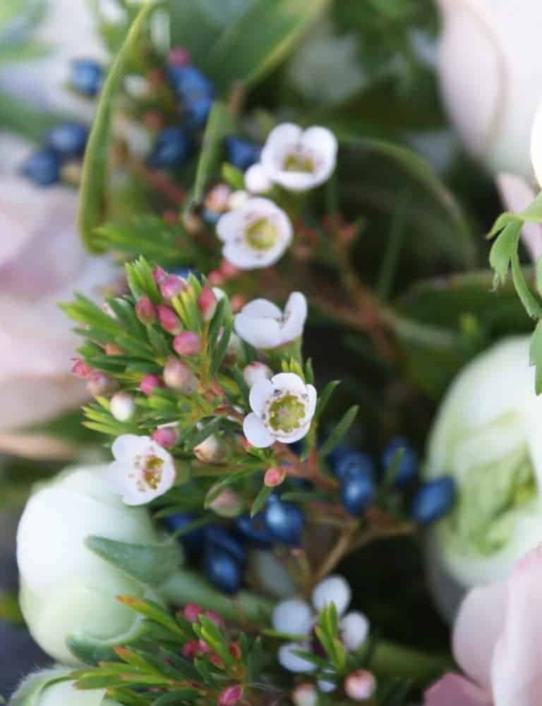 waxflower and berries hand tied bouquet
