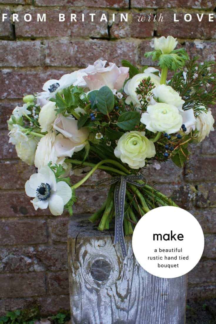 how to make a beautiful spring flower hand tied bouquet posy with anemones, roses, ranunculous and foliage