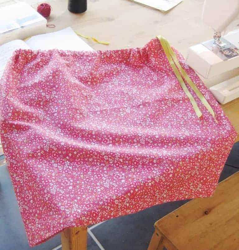 how to sew a simple cotton skirt with ribbon waist