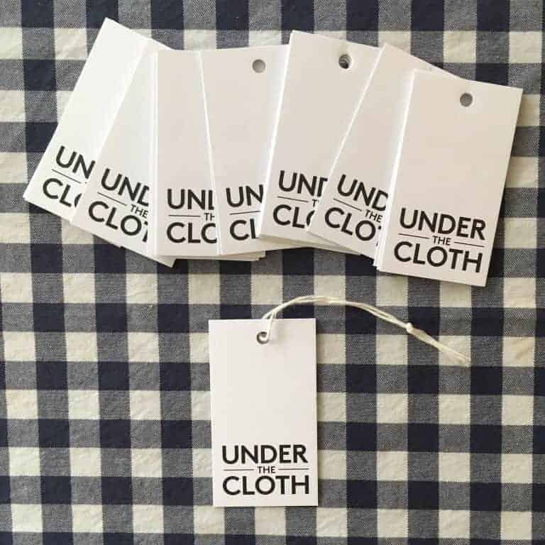 under the cloth labels on gingham