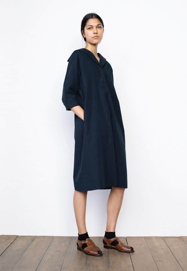 margaret howell navy linen and silk naval sailor dress with three quarter sleeves and buttons