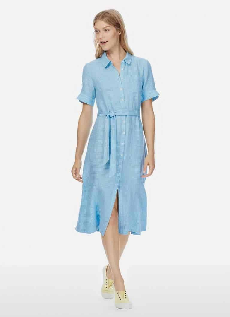 love this pale blue check linen shirt dress by Brora. Click through for more linen summer dress ideas you\'ll love