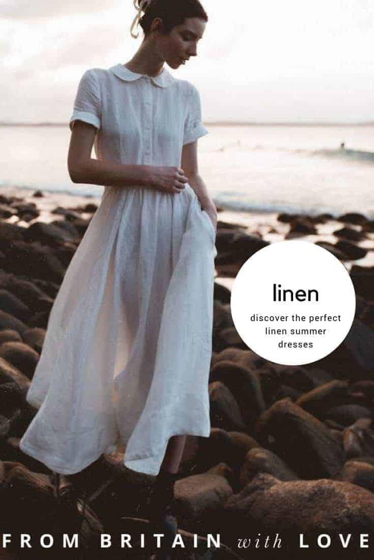 discover the perfect linen summer dresses including this white linen peter pan collar dress in ivory linen. Click through for more linen dress ideas you'll love