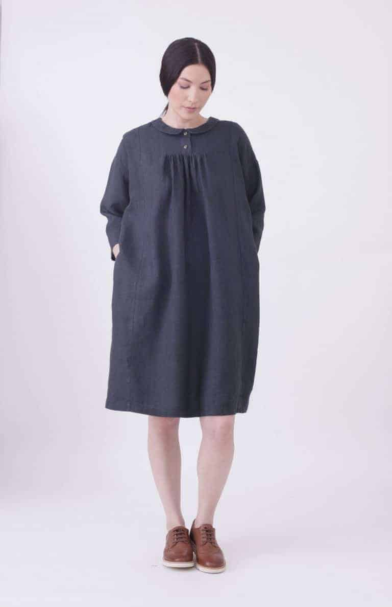 love this navy and white mini check linen dress with button back made in England by Nadinoo. Click through for more linen dress ideas you'll love
