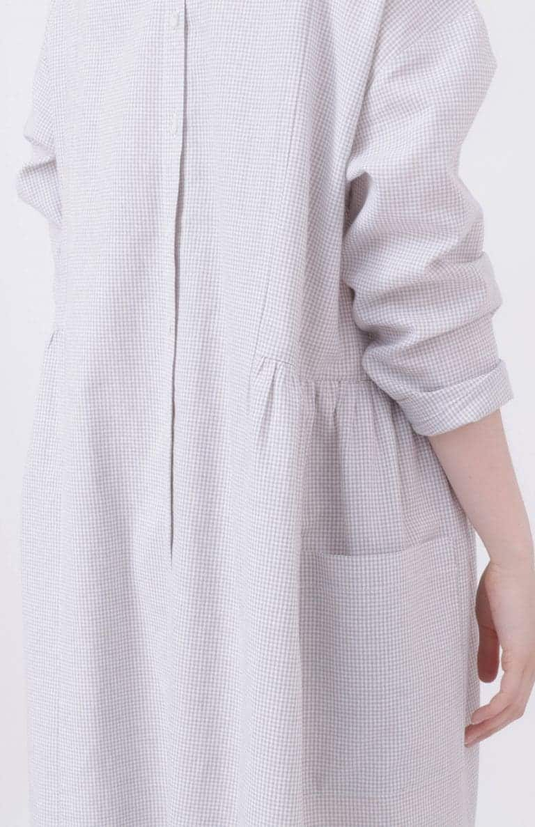 love this pale grey and white mini check linen dress with button back made in England by Nadinoo. Click through for more linen dress ideas you'll love